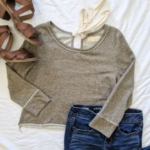A'Reve Anthropologie tan Cropped sweatshirt